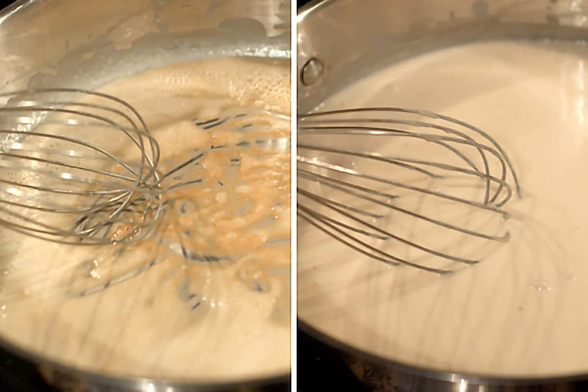 Photo collage showing sauce base and a whisk in a deep pan.