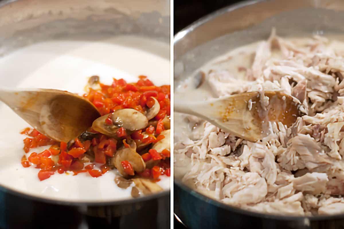Adding mushrooms and chicken to the cream sauce.
