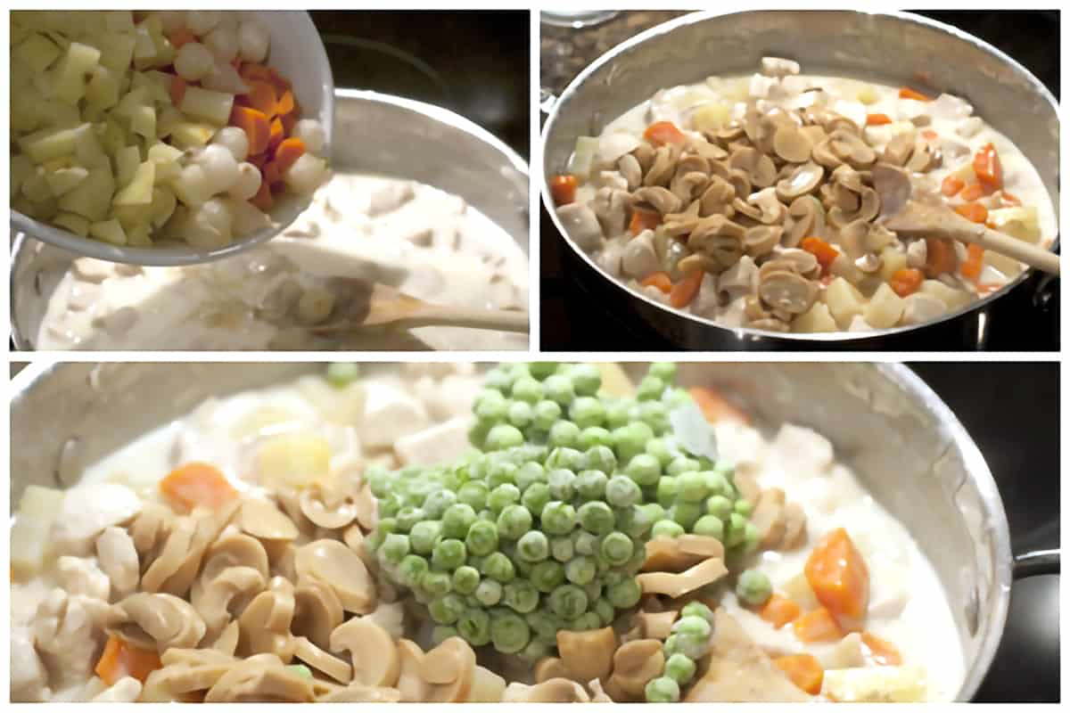Adding the cooked veggies, mushrooms, and frozen peas to the creamy chicken filling.