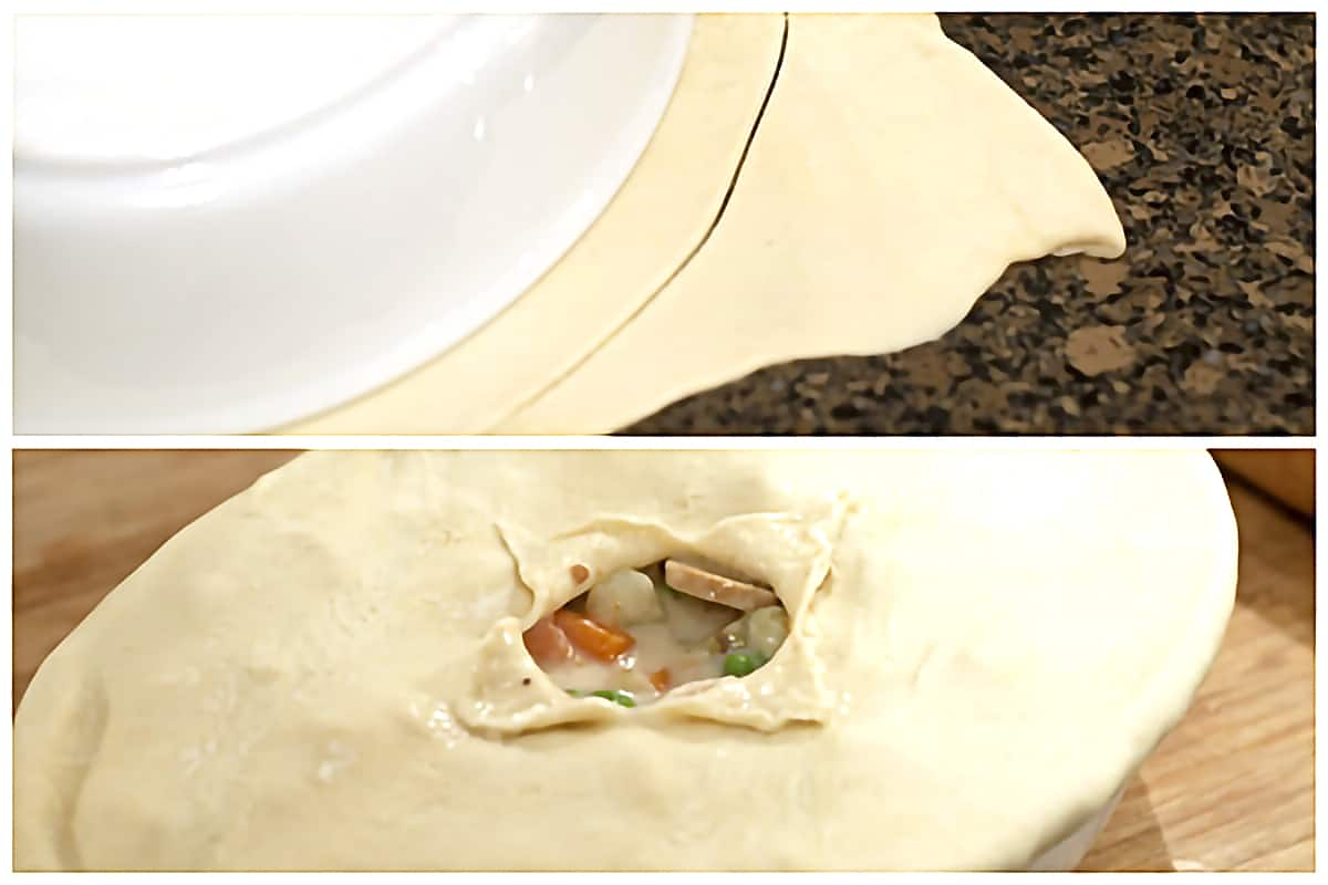 Cutting puff pastry to fit the top of the baking dish.