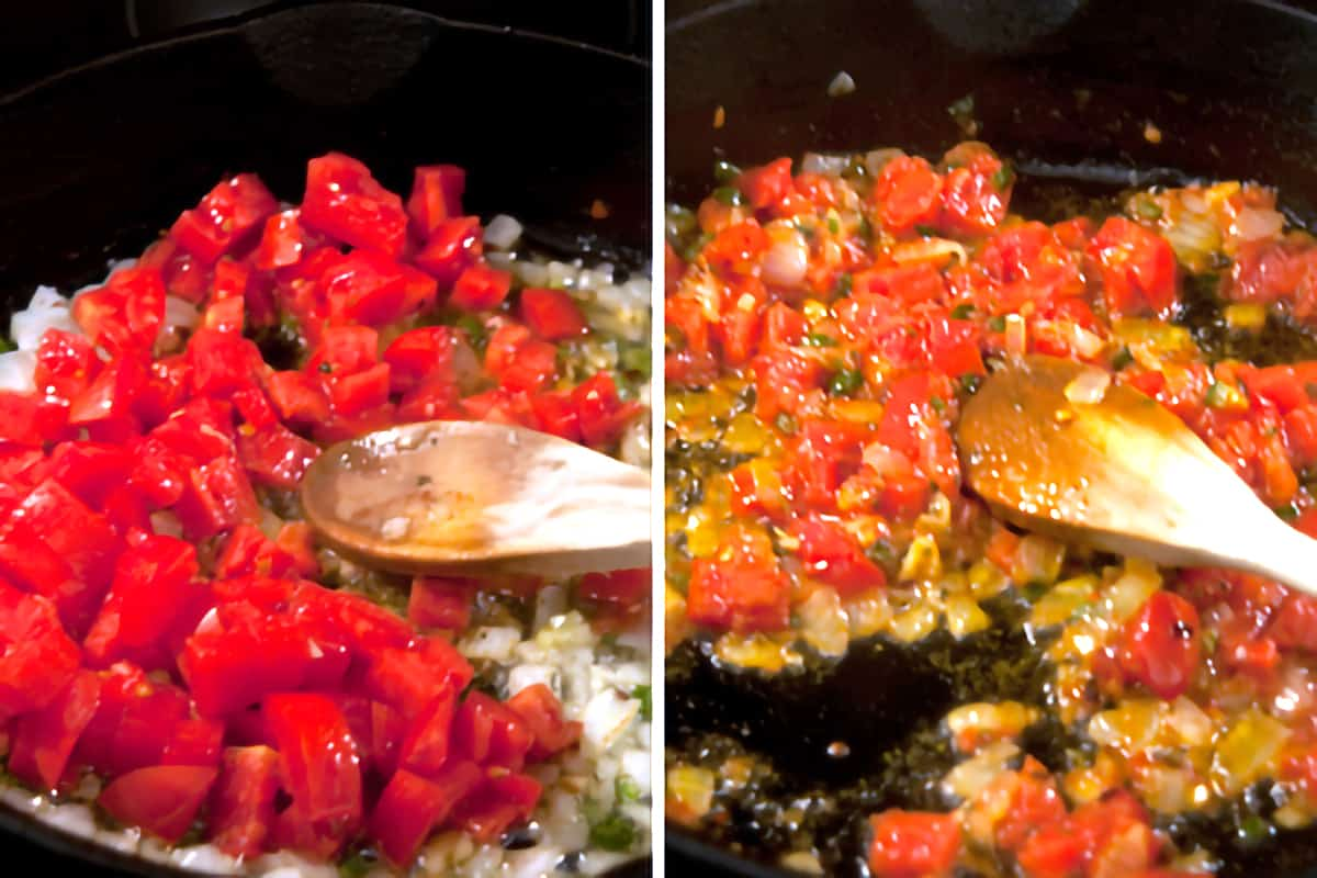 Chopped Roma tomatoes added to the mixture in the skillet.