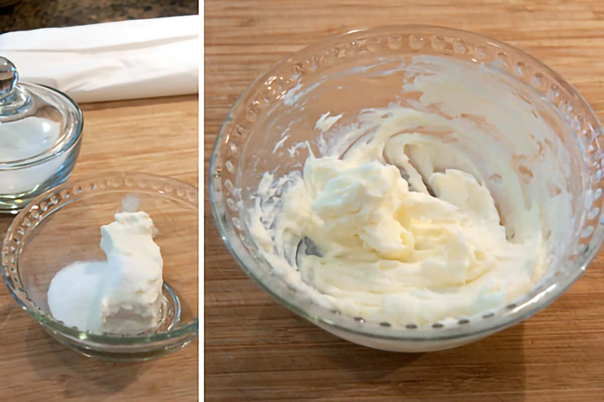 Cream cheese mixture for peach turnovers.