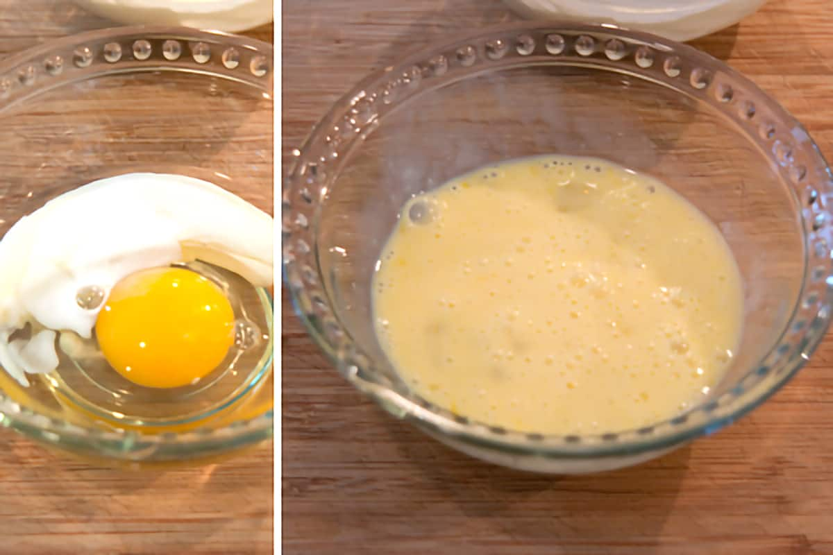 Small bowl containing the egg wash.