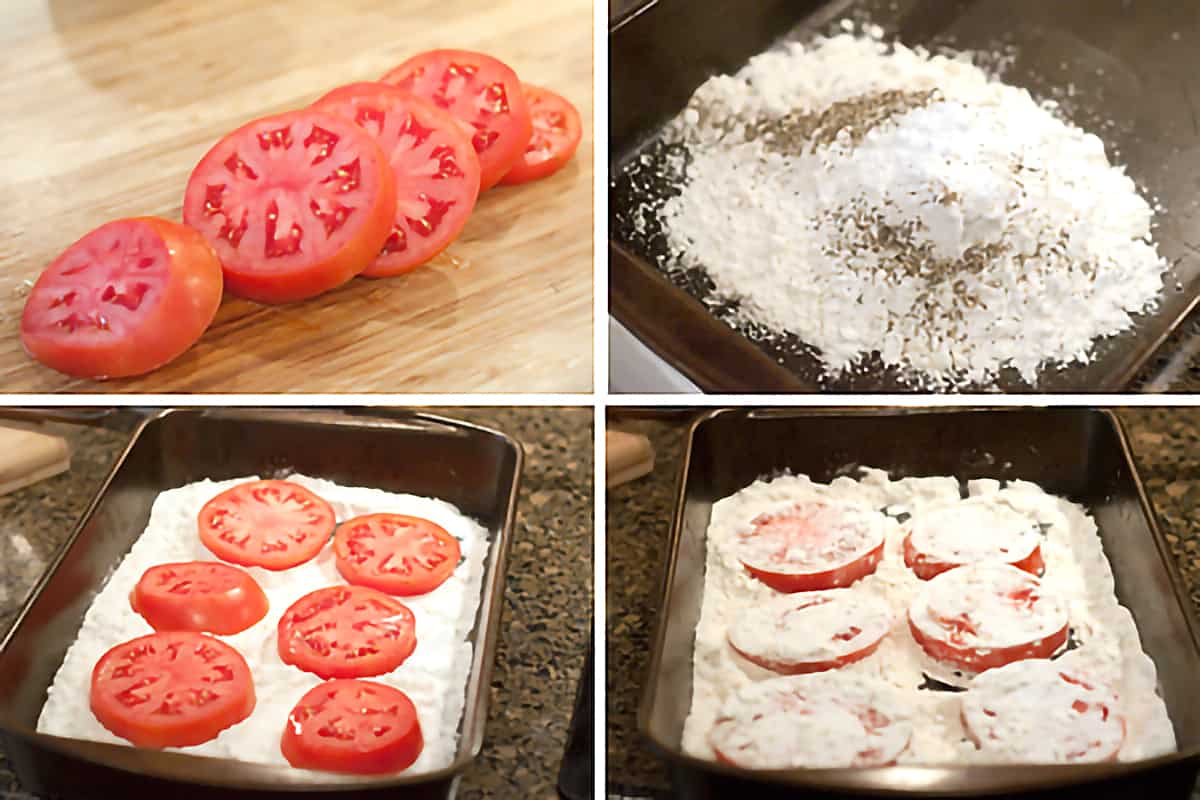 Photo collage showing the slicing and dredging of the tomatoes.