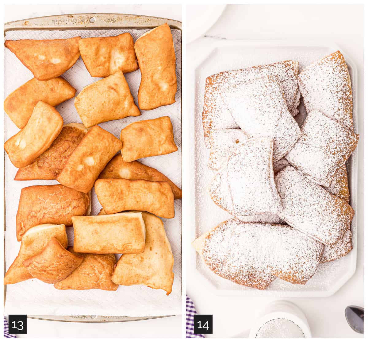 Collage (left) fried beignets draining on a paper towel lined pan, (right) beignets topped with powdered sugar.