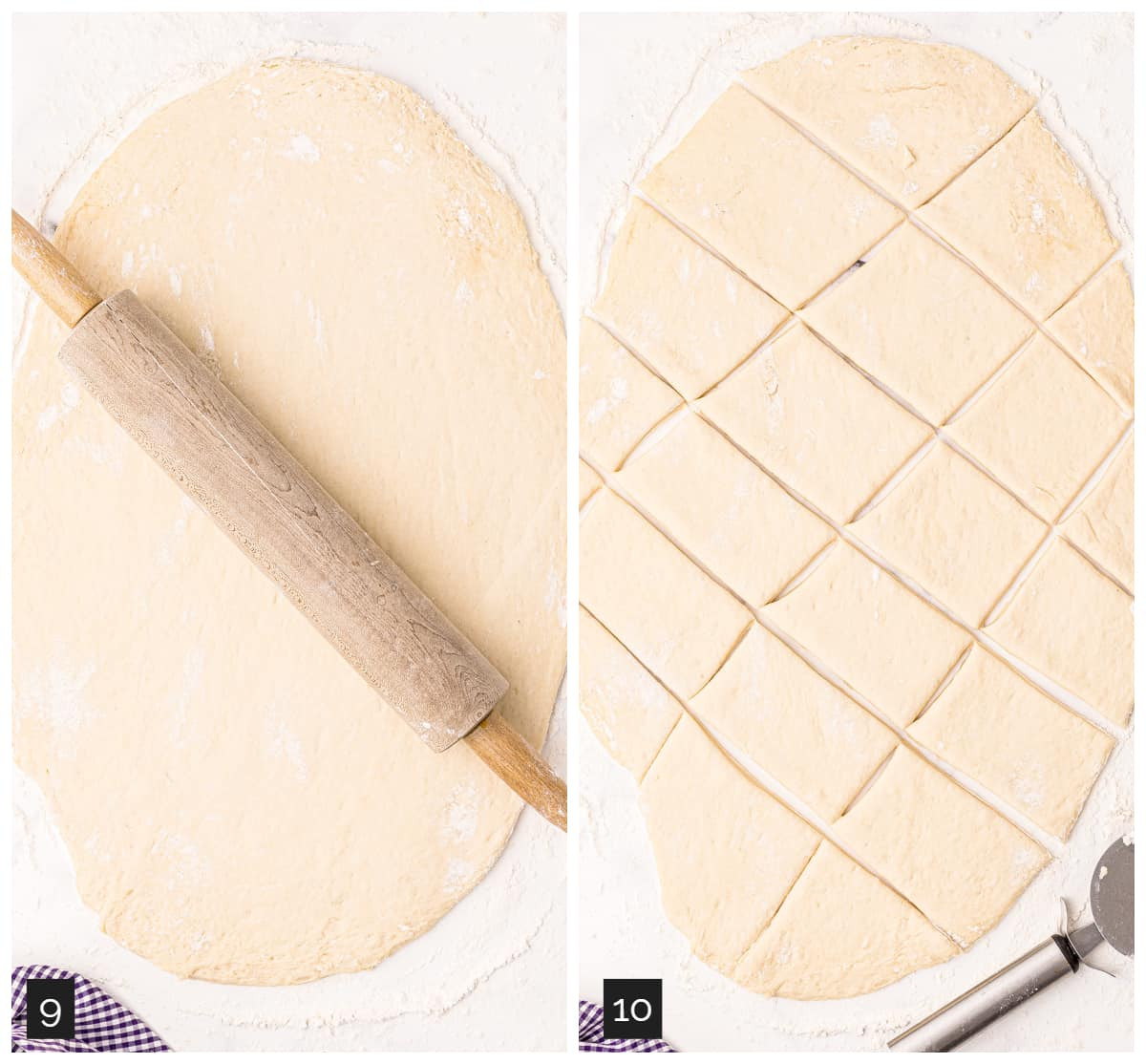 Collage showing (left) dough rolled out with a rolling pin on top; (right) dough cut into rectangles.