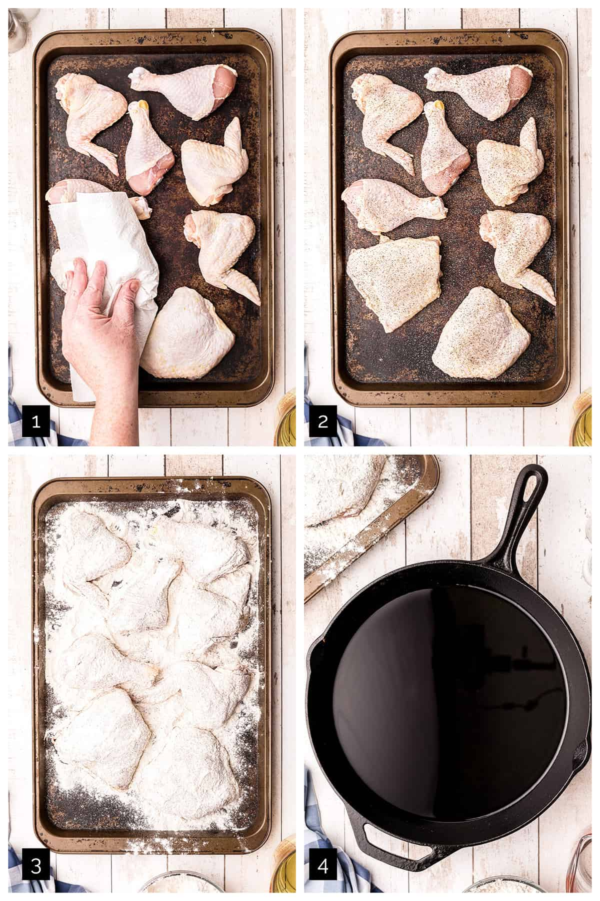 Photo collage showing the first four steps of the process for making simple fried chicken.