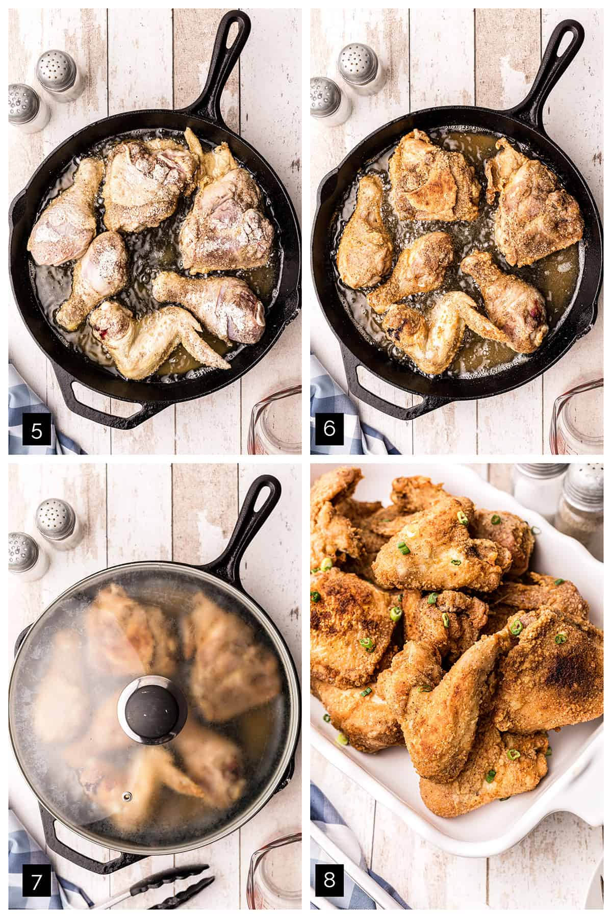 Photo collage showing steps 5 through 8 for cooking the chicken.