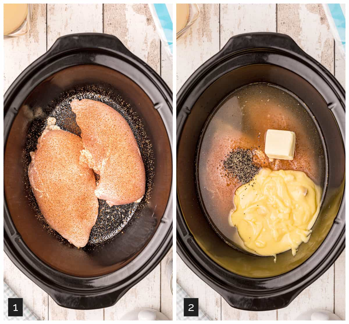 Photo collage showing (1) seasoned chicken breasts in the slow cooker, and (2) the broth, soup, pepper, and butter added.