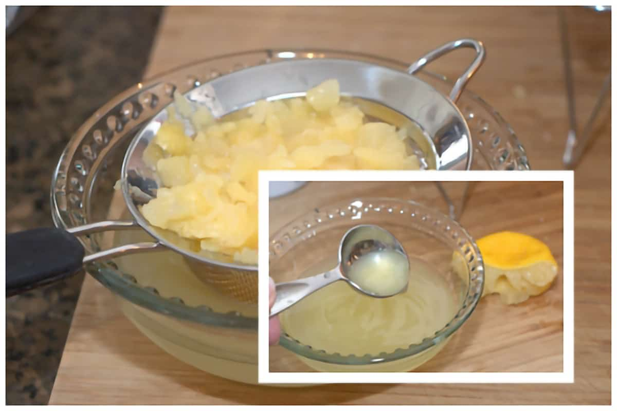 Pineapple draining in a strainer; adding lemon juice to pineapple juice.