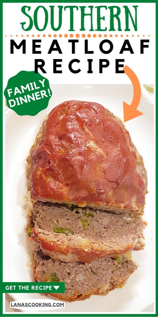 Southern meatloaf on a white serving plate.
