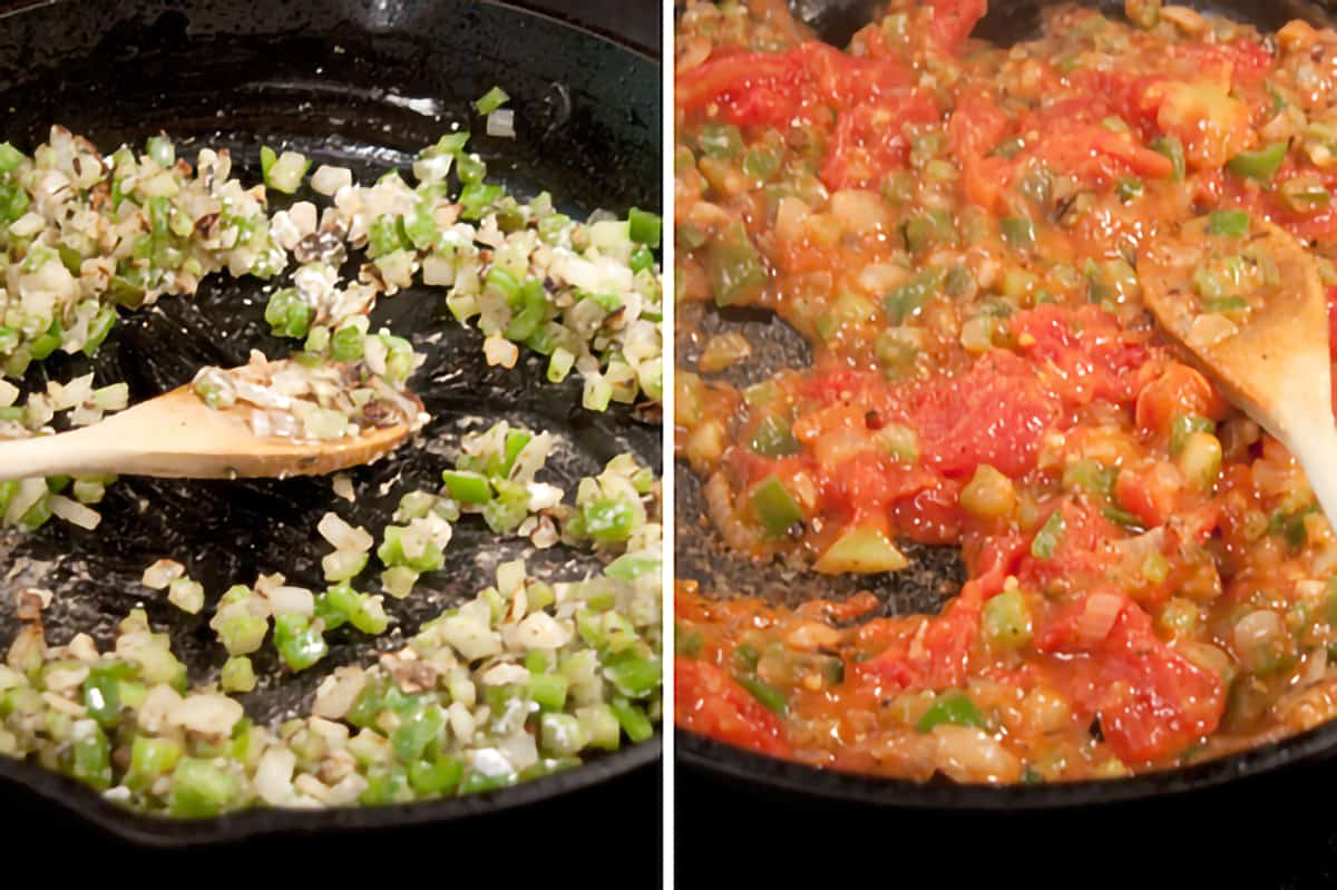 Vegetables cooking in iron skillet on left; tomatoes added on right.