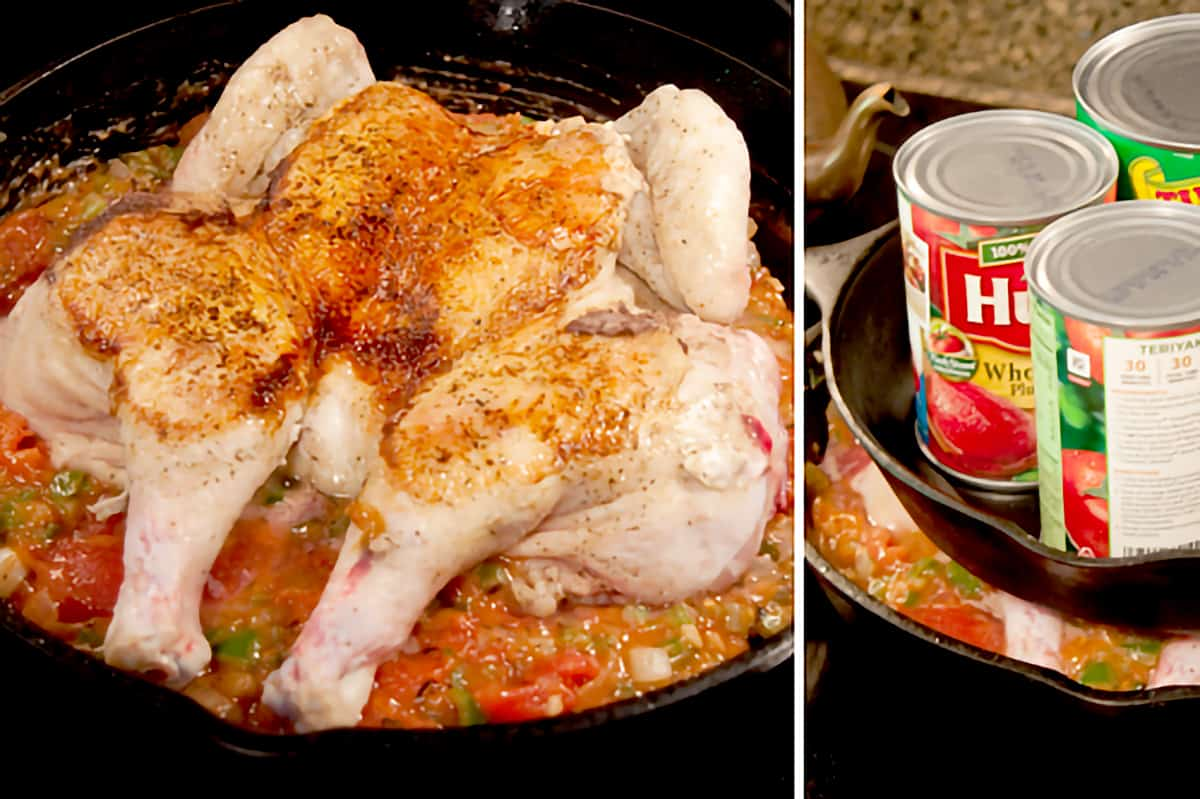 Chicken on top of sauce in skillet (left); Weighted with cans (right.