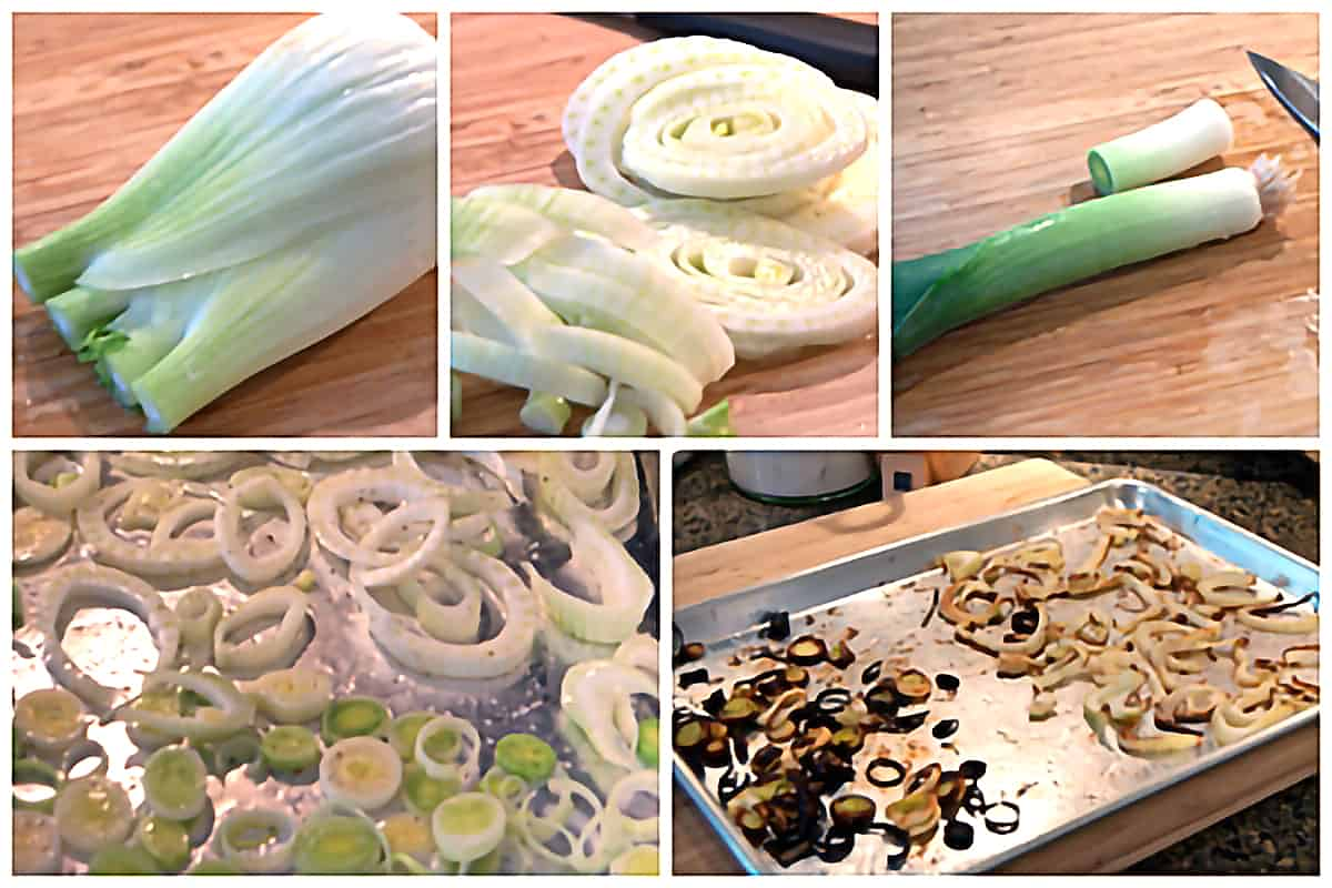 Photo collage showing the process o preparing the fennel and leeks for roasting.