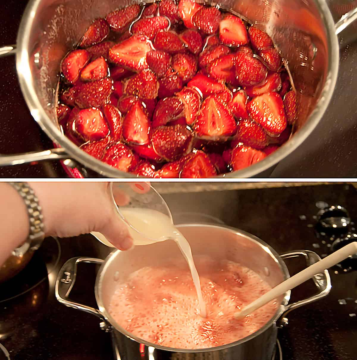 Adding lemon juice to the berries and sugar.