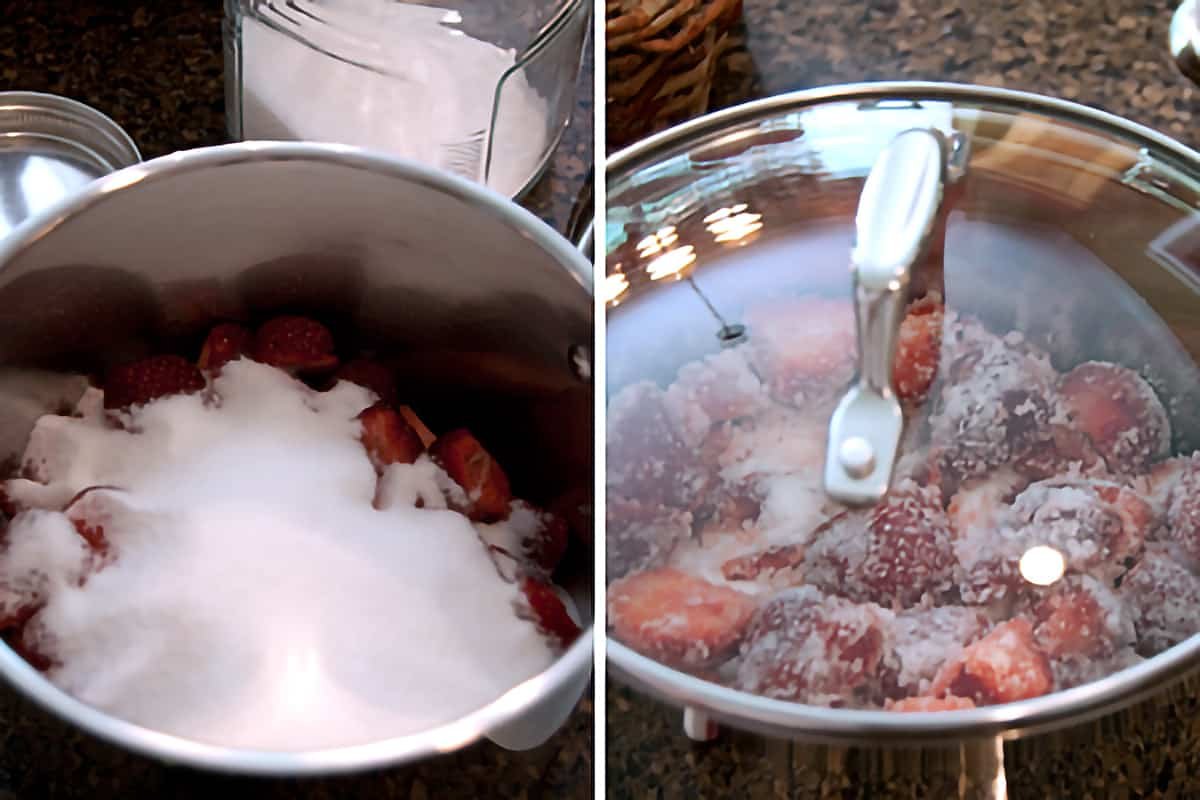 Strawberries mixed with sugar in a stainless steel pan.