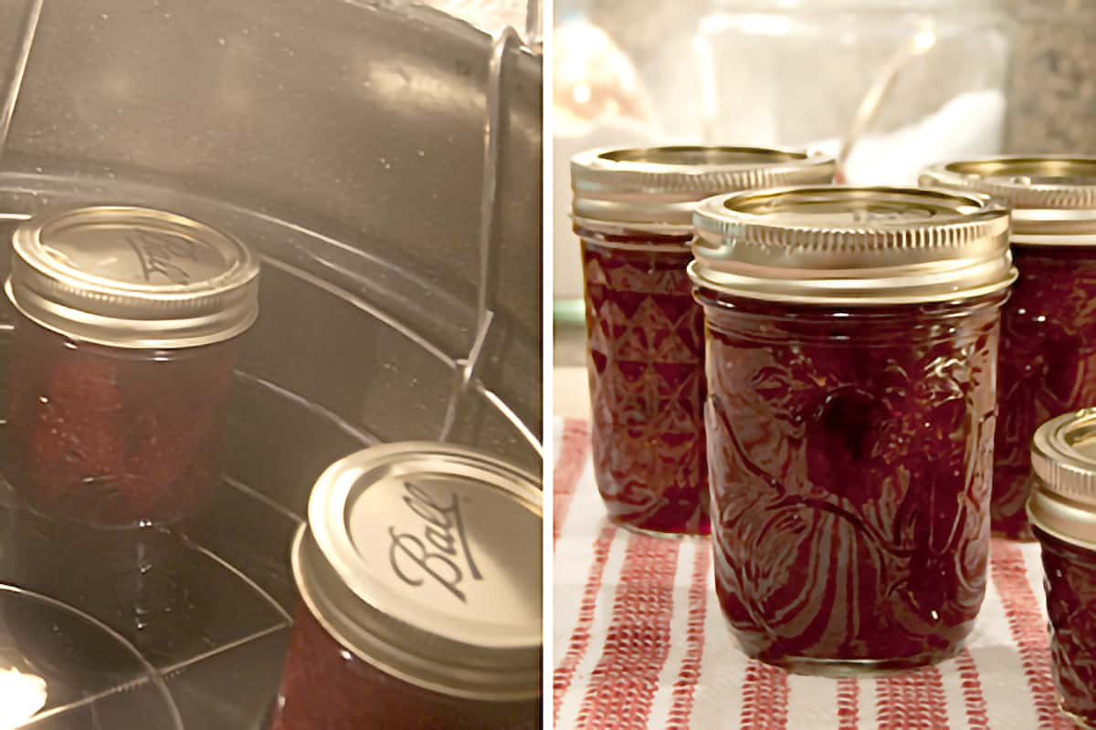 Photo collage shows placing filled jars into the boiling water canner and jars after processing.