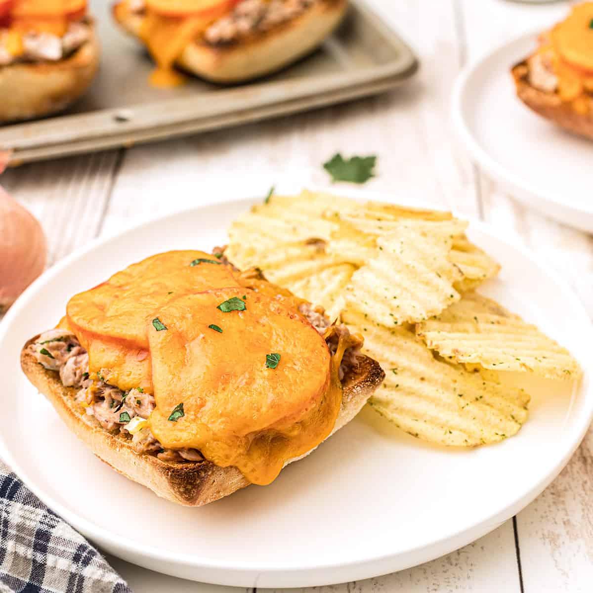 Tuna melt sandwich with potato chips on a white plate.