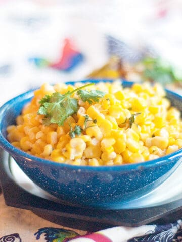 Mexican Street Corn Salad in a blue bowl.