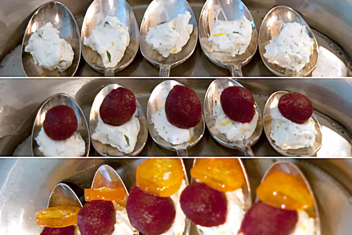 Assembling the appetizer in individual spoons.