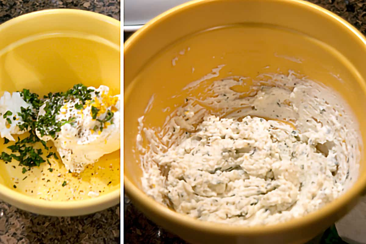 Mixing the herbed goat cheese in a bowl.