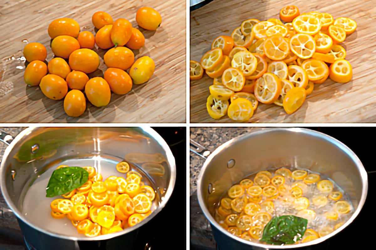 Photo collage showing the steps required for creating the candied kumquat slices.