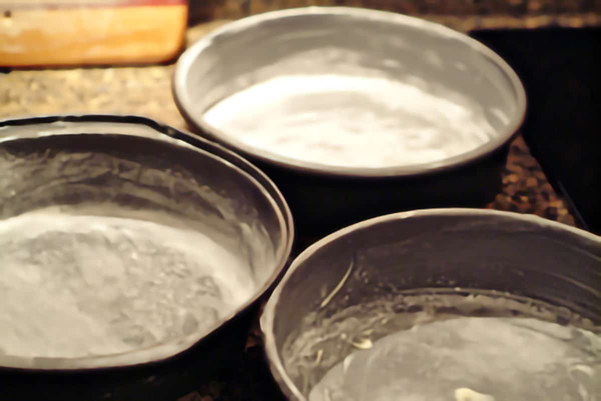 Cake pans prepped with butter and flour.