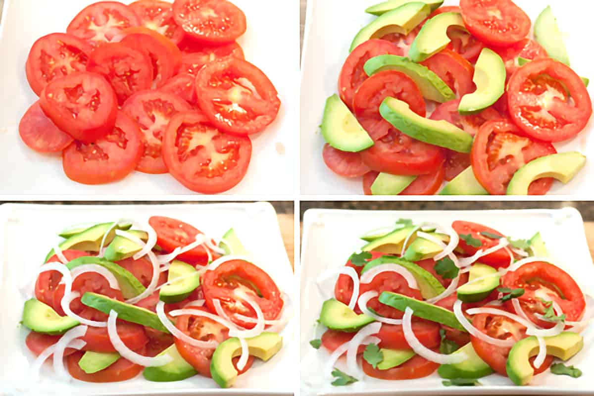Photo collage showing the assembly of the tomato and avocado salad.