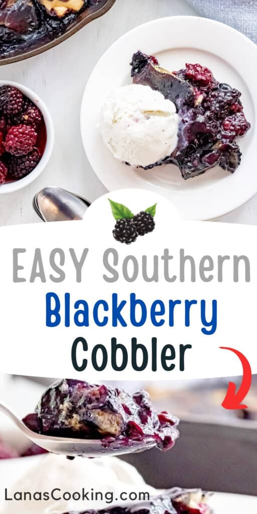 A spoonful of blackberry cobbler with vanilla ice cream.