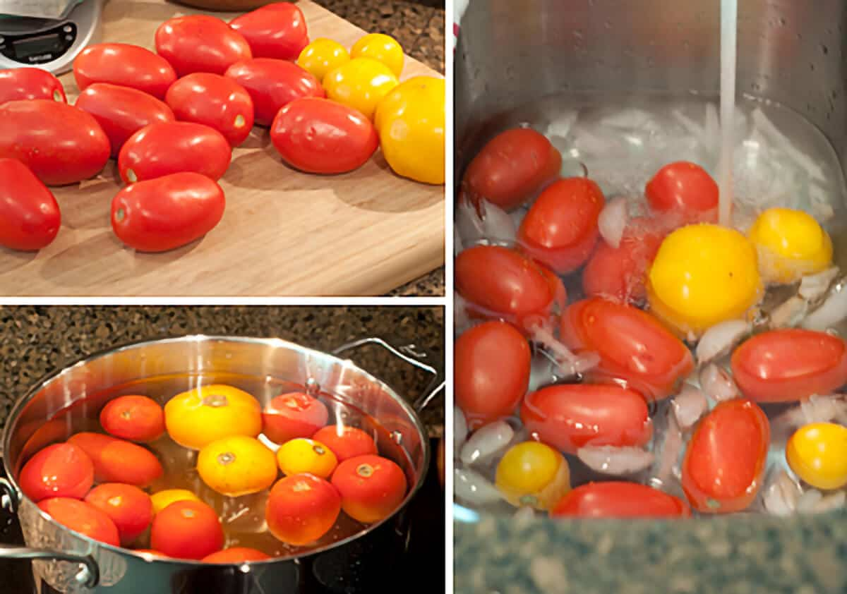 Photo collage of tomatoes on a cutting board, in boiling water, and being cooled with ice and water.