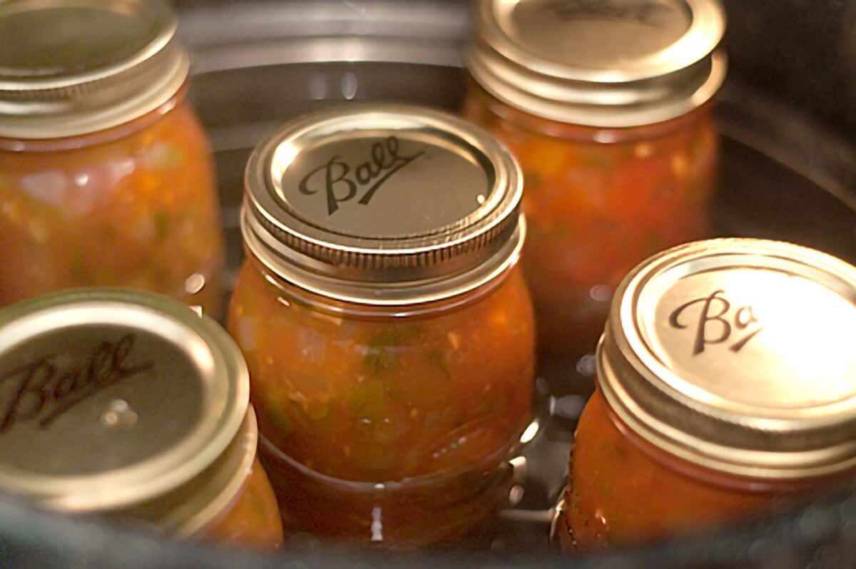 Jars of salsa going into the canner.