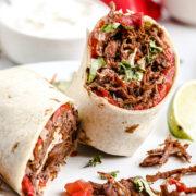 Machaca Burritos on a serving plate.