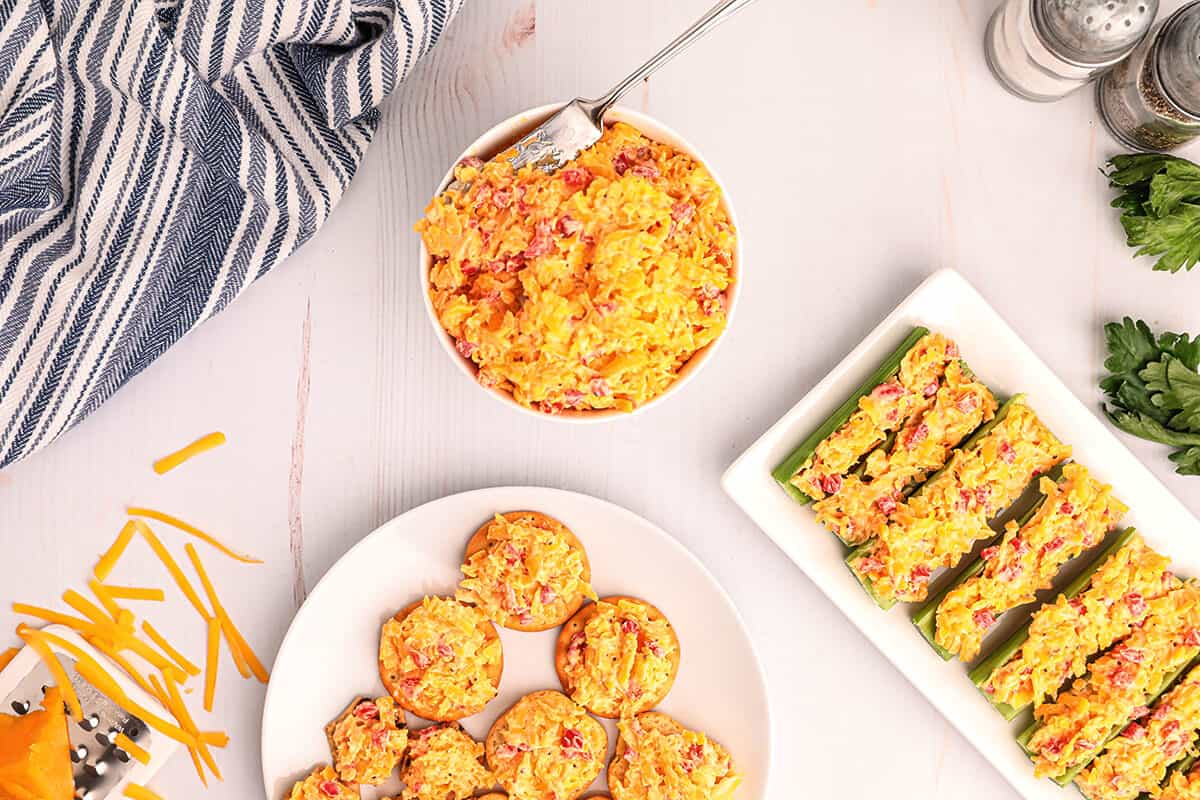 Overhead view of pimiento cheese three ways.