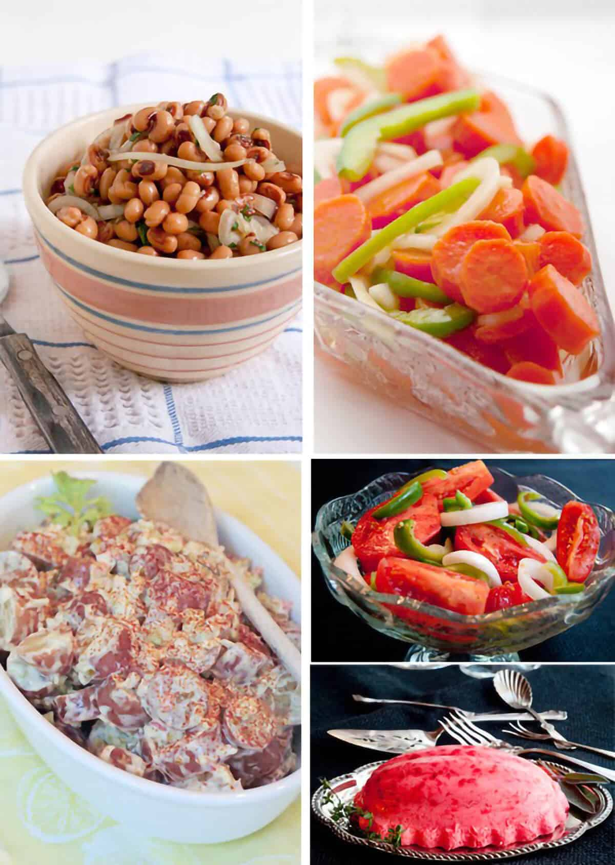 Photo collage of salad recipes.