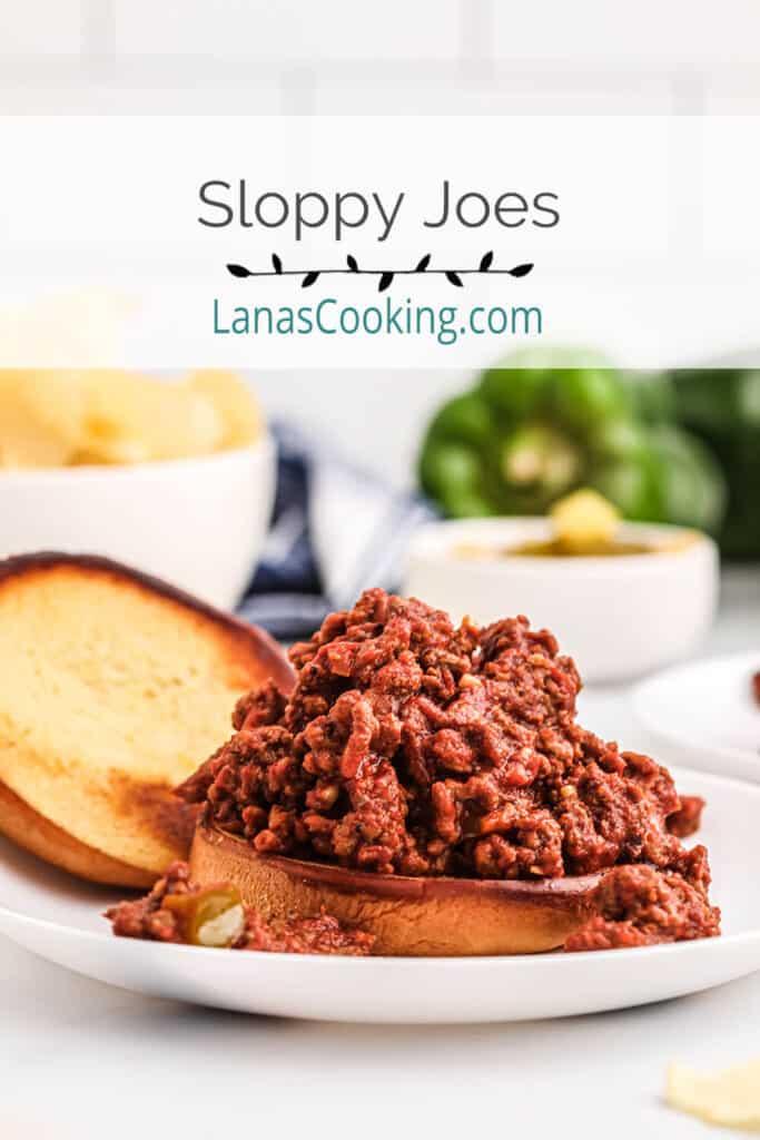 Sloppy Joe sandwich on a white serving plate.