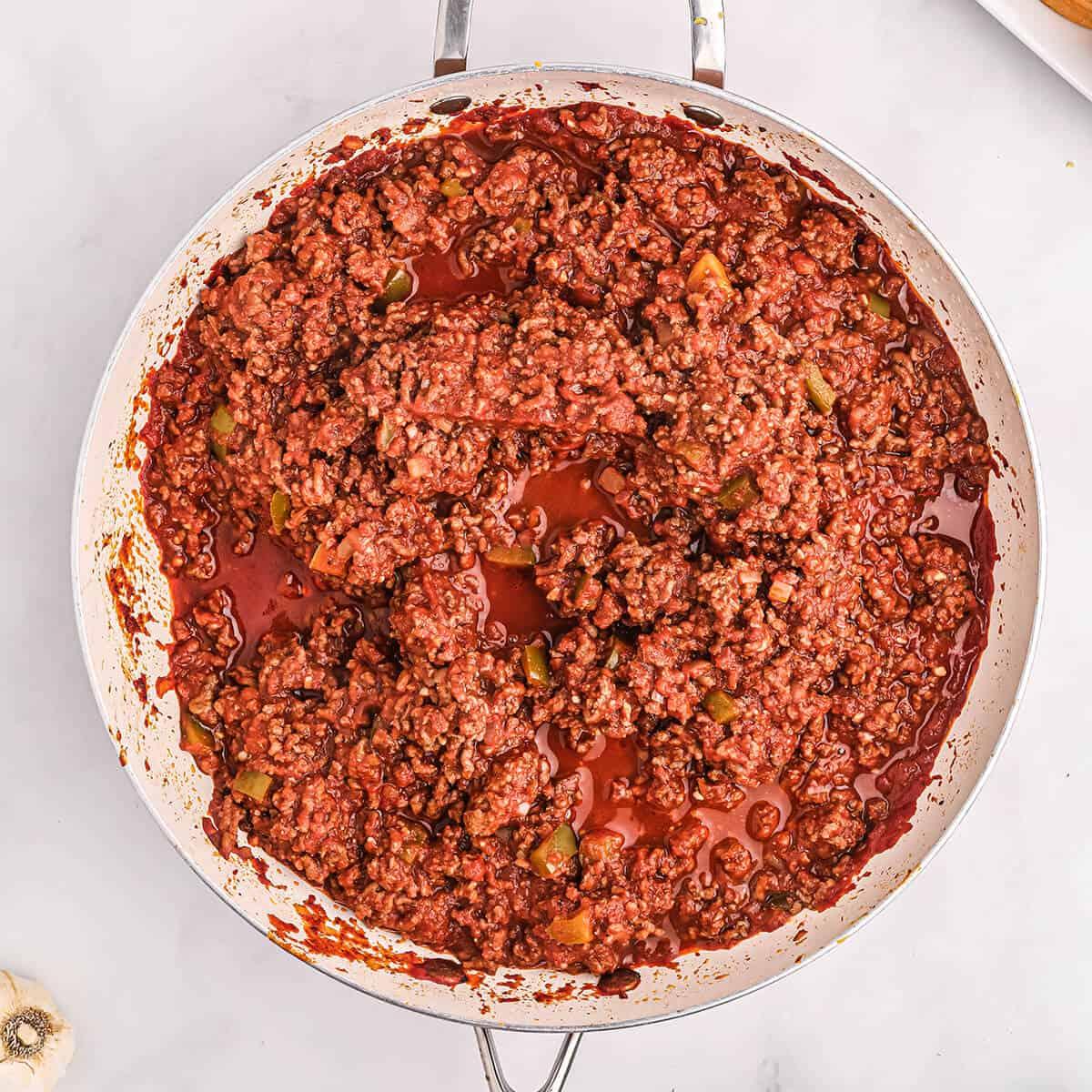 Beef mixture after cooking.