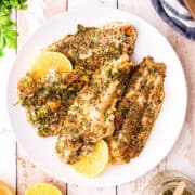 Baked catfish with lemon slices on a white serving plate.