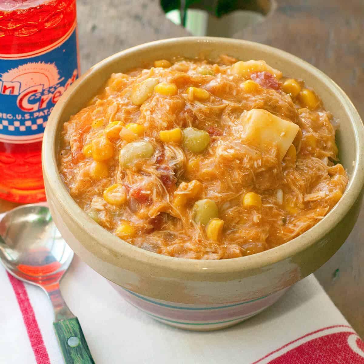 Brunswick stew in a vintage bowl.