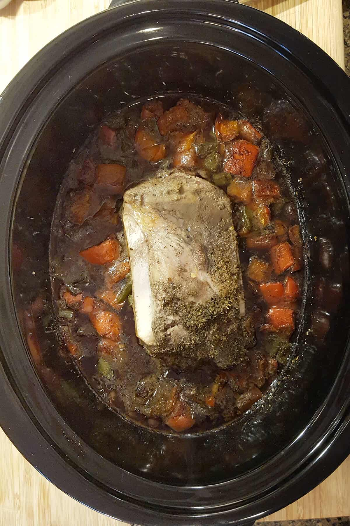 Stew after cooking for 4 hours on high.