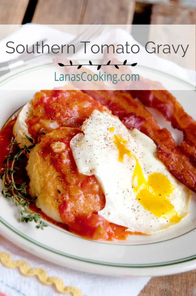 Tomato gravy with an over easy egg on buttermilk biscuits.