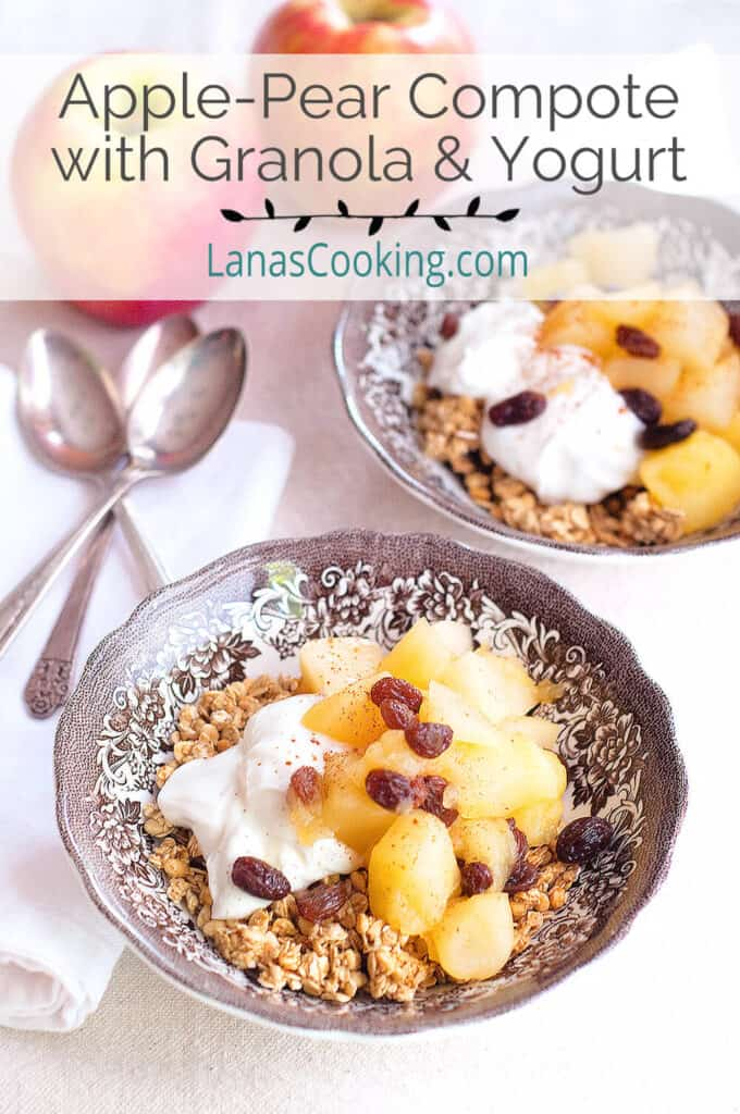 Apple Pear Compote over granola in a serving bowl.