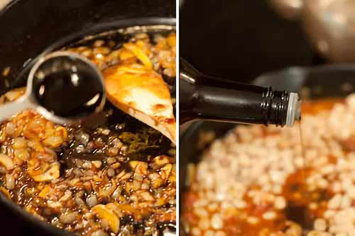 Adding balsamic vinegar and Worcestershire sauce to the skillet.