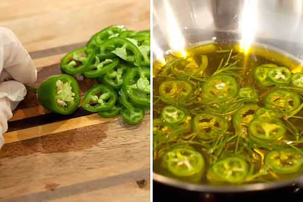 A collage showing jalapenos sliced (left) and cooking in oil (right).