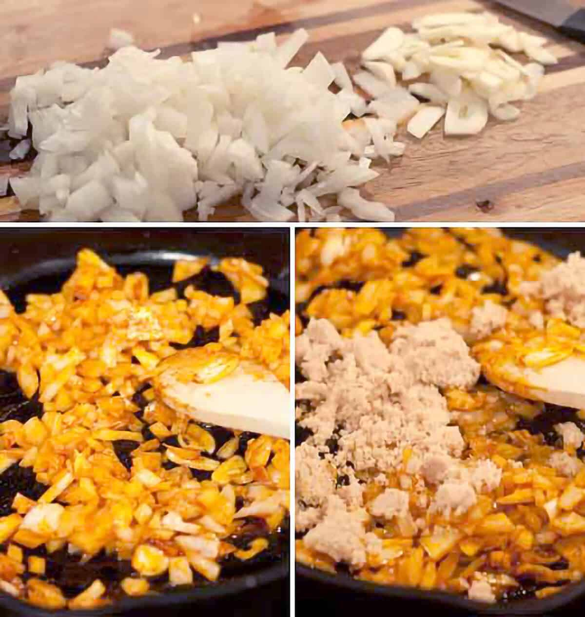 Cooking onions, garlic, and brown sugar in a skillet.