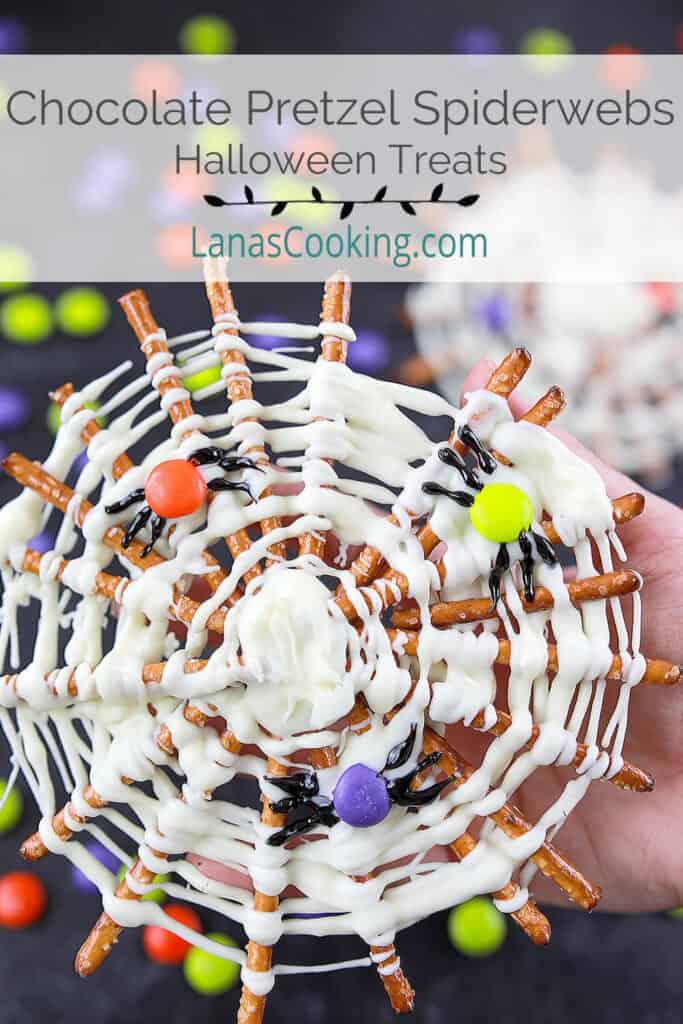 A finished chocolate pretzel spiderweb.