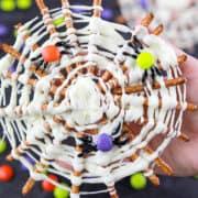 Finished chocolate pretzel spider webs.
